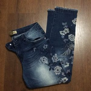 Democracy seamless ankle skimmers floral Sz 8